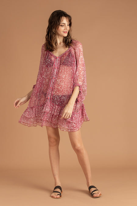 Mini Dress Amora Layered - Pink Cerise