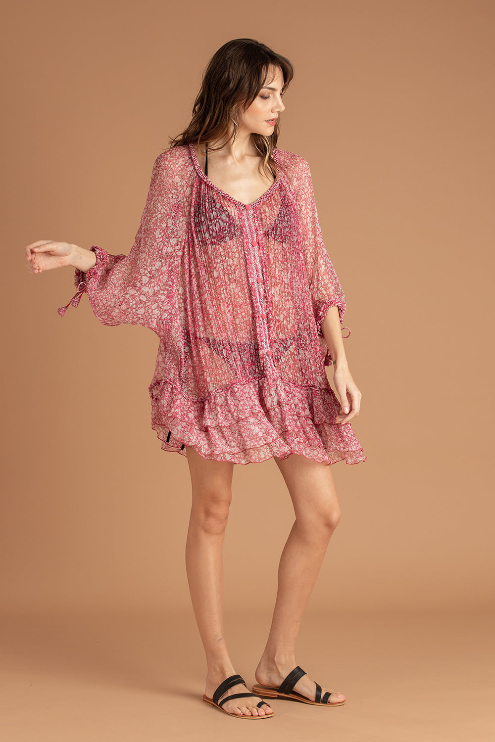 Dress Poncho Foe Ruffled - Pink Aspen