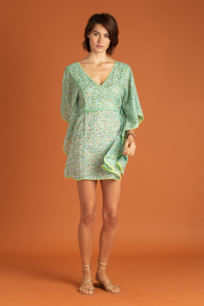 Dress Poncho Mya V Neck - Green Iris