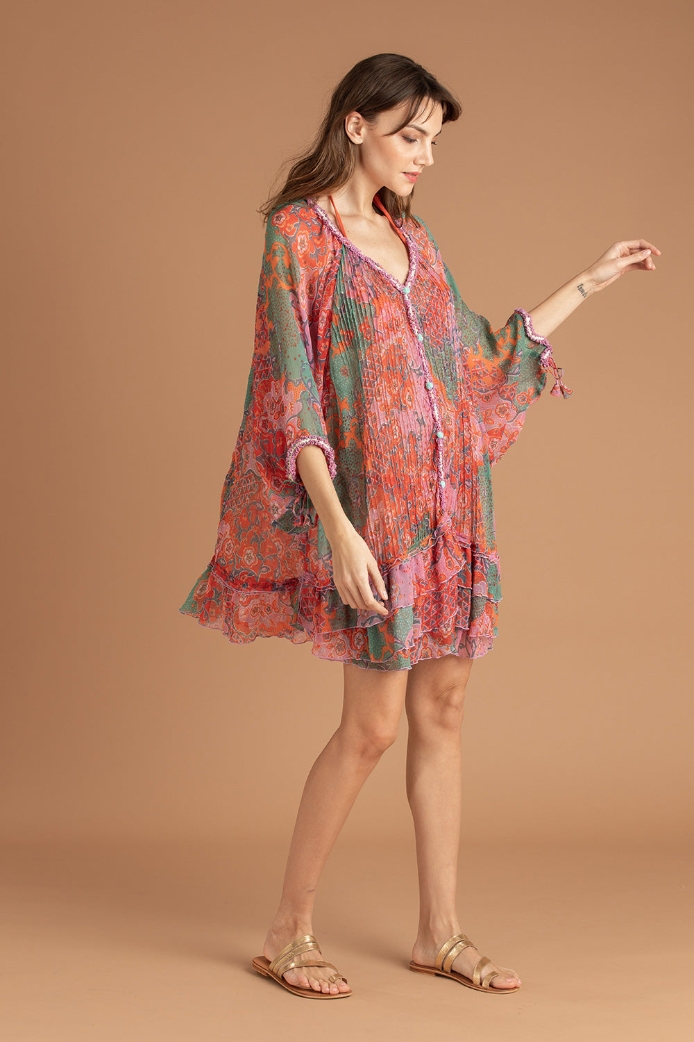 Dress Poncho Nava Pleated - Green Peony