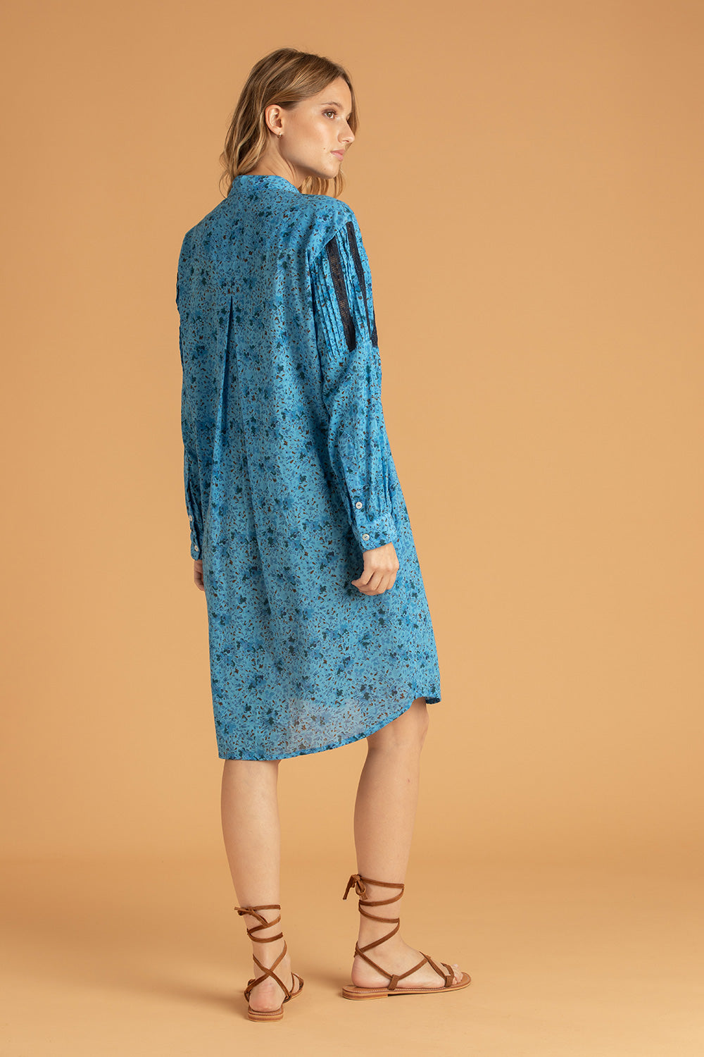 Dress Tunic Triny Pleated - Blue Watercolor