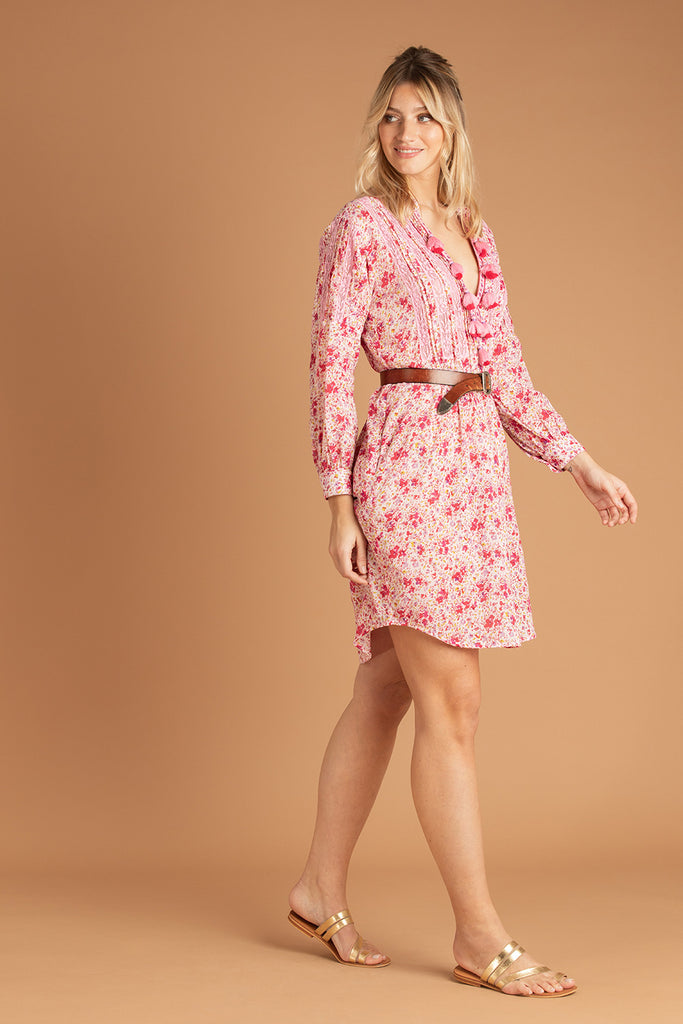 Dress Tunic Triny Pleated - Pink Watercolor