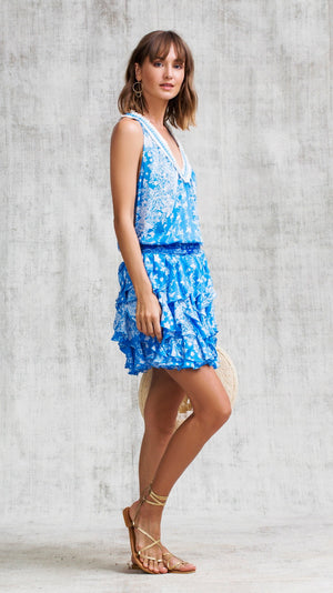 DRESS BELINE RUFFLED - BLUE BUTTERFLY BATIK VERTICAL