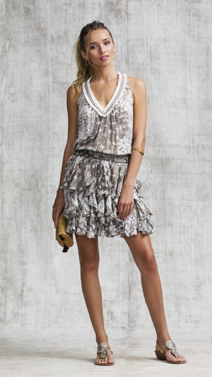 DRESS BELINE RUFFLED - GREY BUTTERFLY BATIK VERTICAL