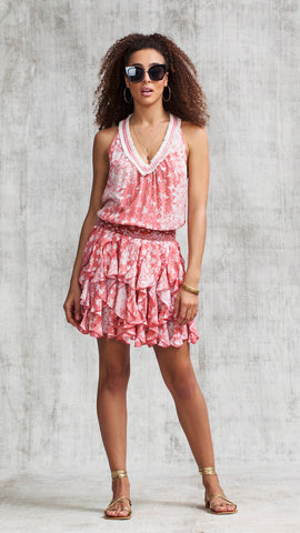 DRESS BELINE RUFFLED - PINK BUTTERFLY BATIK VERTICAL