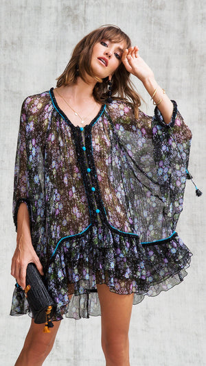 DRESS PONCHO BETY RUFFLED - BLACK MIMOSA