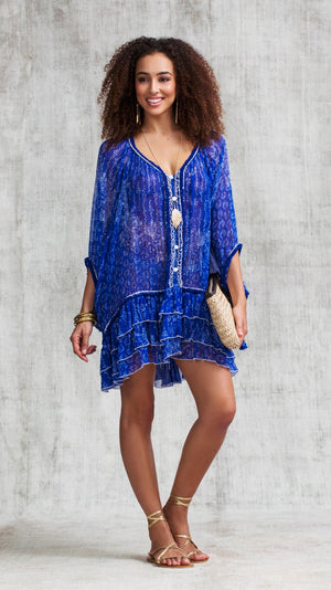DRESS PONCHO BETY RUFFLED - BLUE BUTTERFLY BATIK ROMBO