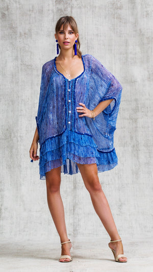 DRESS PONCHO BETY RUFFLED - BLUE FANCIFUL