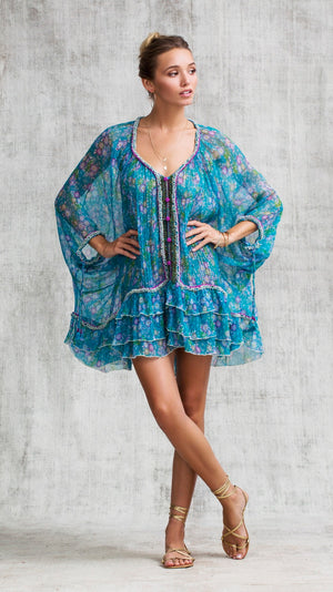 DRESS PONCHO BETY RUFFLED - BLUE MIMOSA