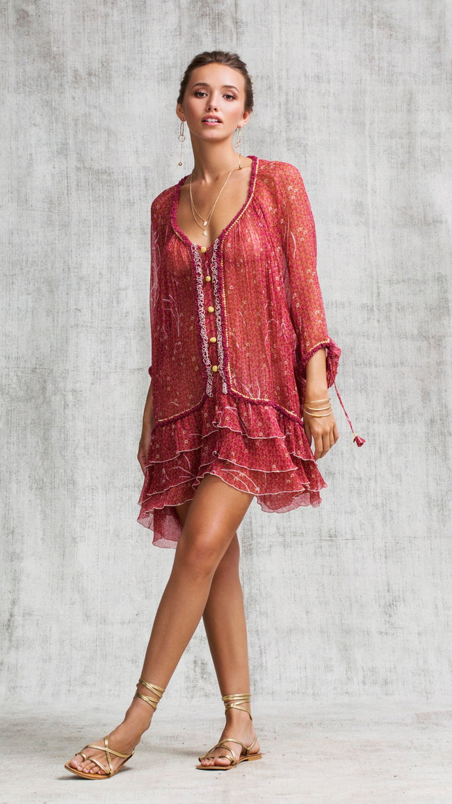 DRESS PONCHO BETY - RED SMALL GEO FLOWER