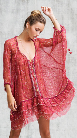 DRESS PONCHO BETY RUFFLED - RED SMALL GEO FLOWER