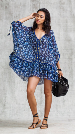 DRESS PONCHO BOBO RUFFLED - BLUE FRESSIA