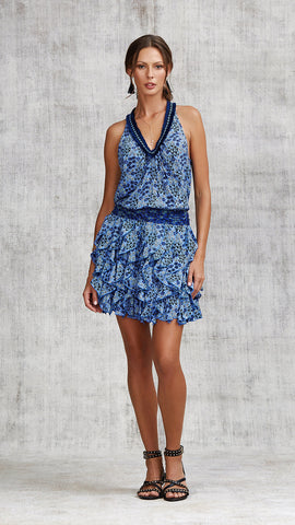 DRESS BELINE RUFFLED - BLUE SAKURA