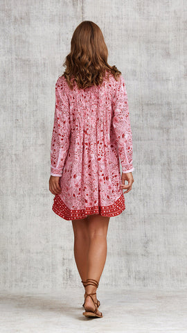 DRESS OLA LONG SLEEVE - PINK CAMELIA