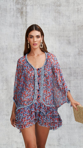 DRESS PONCHO BETY RUFFLED - BLUE EDEN