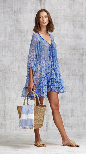 DRESS PONCHO BETY RUFFLED - BLUE ICY LIBERTY