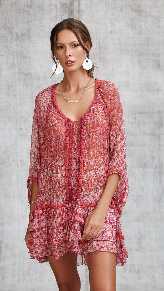 DRESS PONCHO BETY RUFFLED - PINK ICY LIBERTY