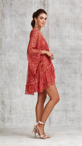 DRESS PONCHO BETY RUFFLED - RED EDEN