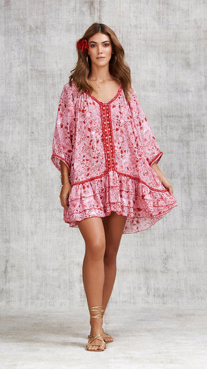 DRESS PONCHO BOBO RUFFLED - PINK CAMELIA