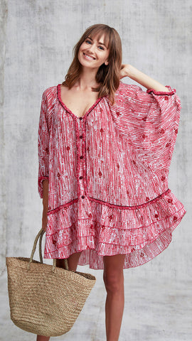 DRESS PONCHO BOBO RUFFLED - PINK FANCIFUL