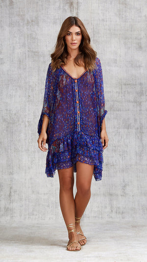 DRESS PONCHO FOE RUFFLED - BLUE CACTUS