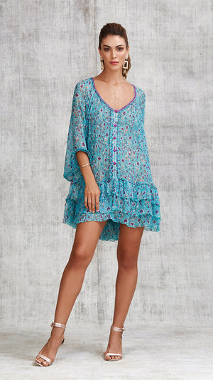 DRESS PONCHO FOE RUFFLED - BLUE AZALEA