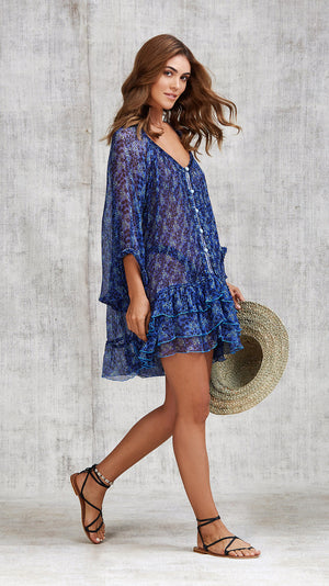 DRESS PONCHO FOE RUFFLED - BLUE SAKURA