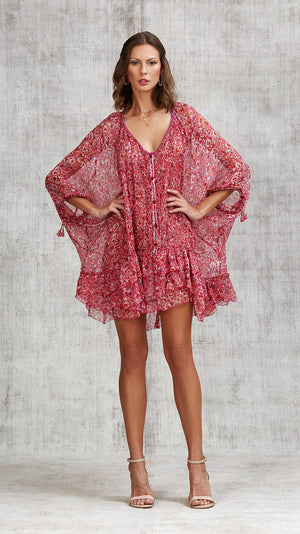 DRESS PONCHO FOE RUFFLED - PINK AZALEA