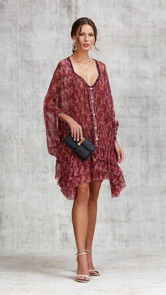 DRESS PONCHO FOE RUFFLED - PINK SAKURA