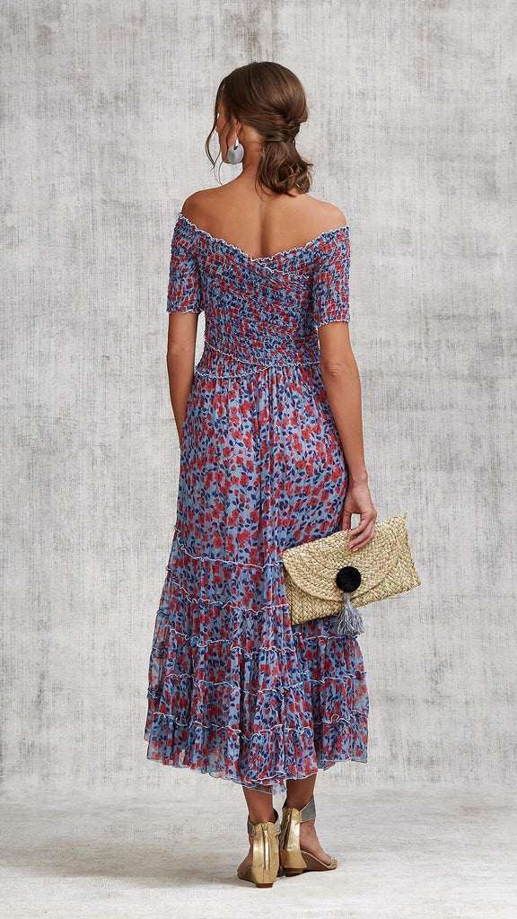 DRESS SOLEDAD OFF SHOULDER - BLUE EDEN