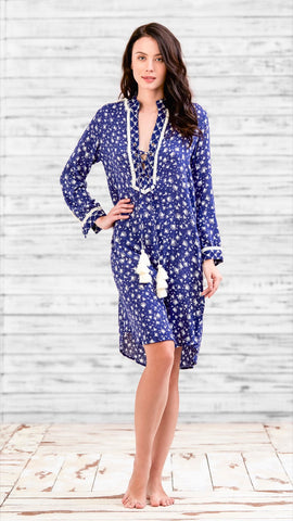 DRESS TUNICA DONNA - BLUE TASSEL