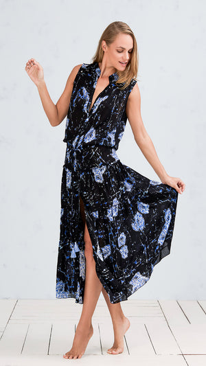 LONG DRESS ELODIE - BLACK MARBLE