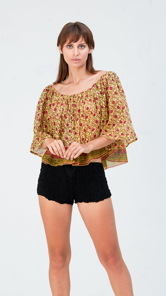 MINI TOP BLOUSE FLEUR - YELLOW LOTUS