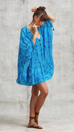 DRESS PONCHO FOE RUFFLED - BLUE PALM