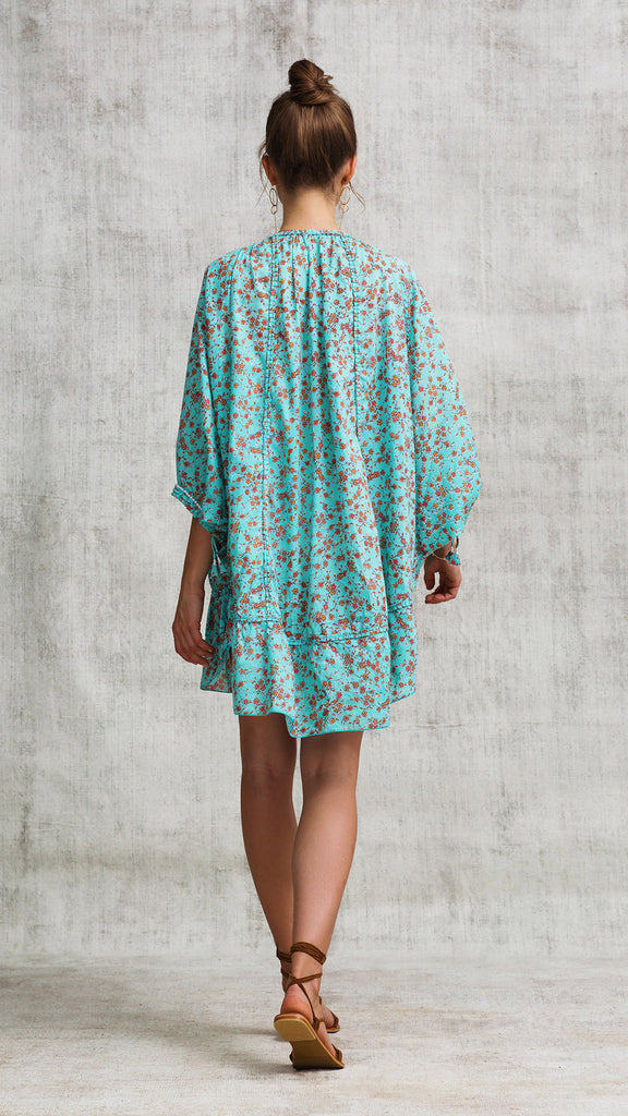 DRESS PONCHO FOE RUFFLED - AQUA LILAC