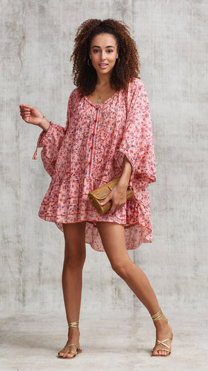 DRESS PONCHO FOE RUFFLED - PEACH LILAC