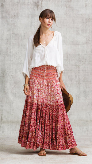 LONG SKIRT FOE PANELLED - RED MOZAIC