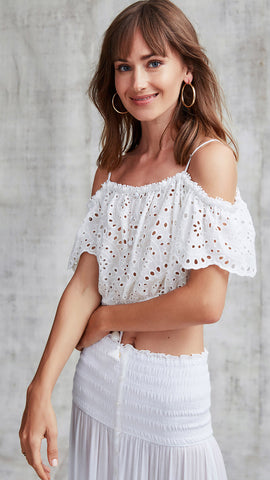 MINI TOP BLOUSE HONEY COLD SHOULDER - WHITE