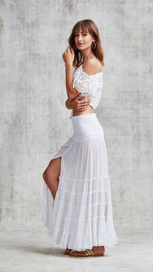LONG SKIRT FOE PANELLED - WHITE