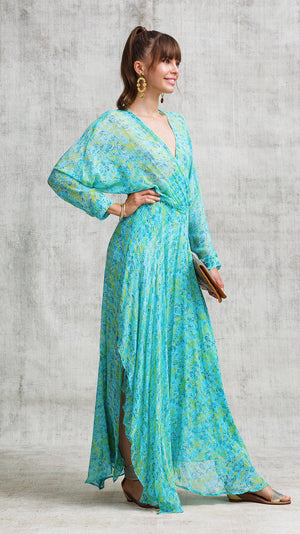 LONG DRESS ILONA FLOUNCE - BLUE SAHARA