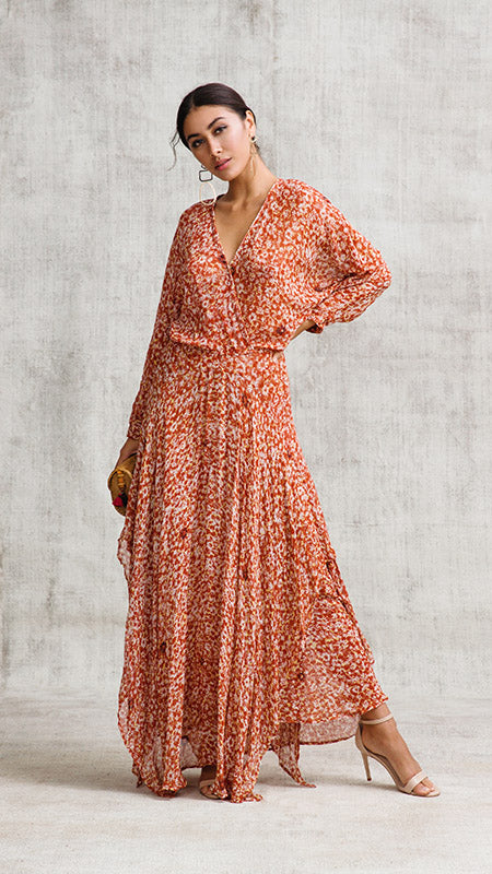 LONG DRESS ILONA FLOUNCE - ORANGE FANTASY
