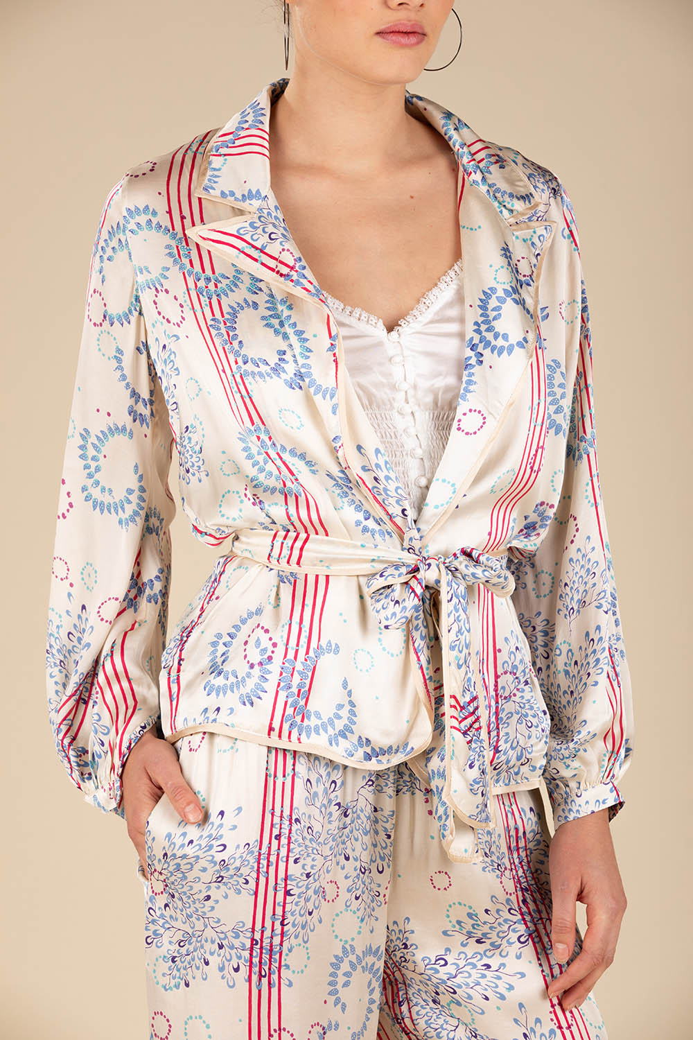 Jacket Kimi Long Sleeve - Cream Pink Ameline (4391662551086)