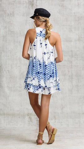 MINI DRESS JEANNETTE A-LINE - CREAM NAVY SHADED