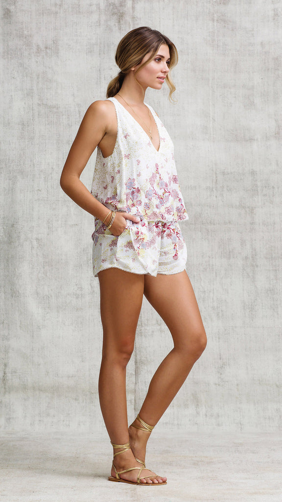 SHORT JUMPSUIT JEANNETTE LAYERED - NATURAL FADED LIBERTY