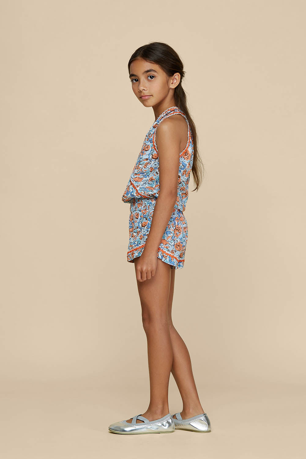 Kids Short Jumpsuit Jena Sleeveless - Blue Rose
