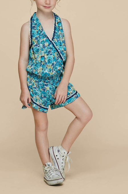 Kids Long Dress Clara Sleeveless - Green Bloom