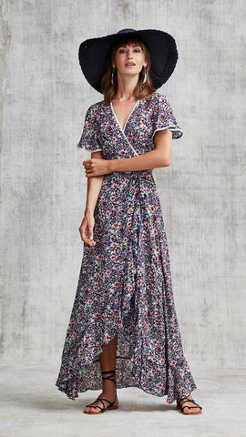 LONG DRESS JOE RUFFLED - NAVY AZALEA