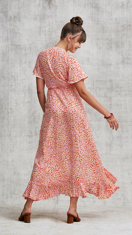 LONG DRESS JOE RUFFLED - PINK PAPILON