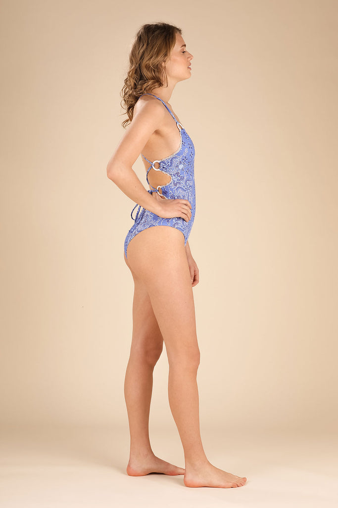 Monokini Kelly Lace Trimmed - Blue Pineapple Batik Vertical