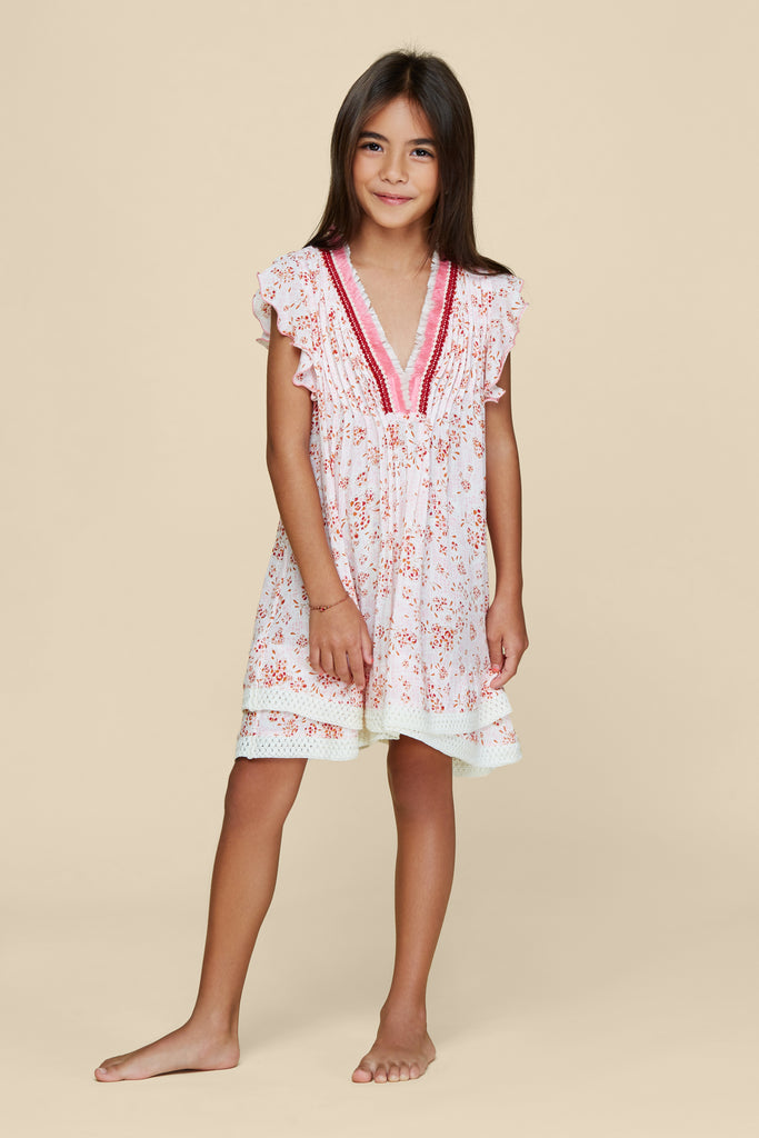 Kids Mini Dress Sasha Lace Trimmed - White Pink Amarylis